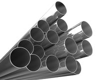 Metal pipes on white background Stock Photos