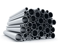 Metal pipes  on white background Stock Photo