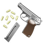 Metal pistol with bullets isolated on white Stock Photos