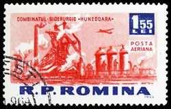 Metal plant (Hunedoara), Socialism construction in R.P.R. serie, circa 1963. MOSCOW, RUSSIA - MARCH 23, 2019: Postage stamp printed in Romania shows Metal plant stock images