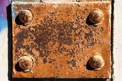 Metal plaque. Background. Oxidated metal plaque / grunge texture Stock Photos
