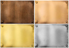 Metal plaques or signboards set isolated on white Royalty Free Stock Image