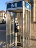 Retro Bell telephone booth on street corner