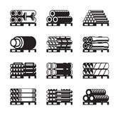 Metal, plastic and rubber pipes in pallets. Vector illustration Royalty Free Stock Photography
