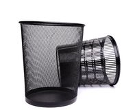 Metal and plastic trash can. Royalty Free Stock Photo