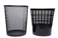Metal and plastic trash cans on white background Stock Photography