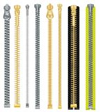 Metal and Plastic Zipper Set Isolated on White Background. Royalty Free Stock Images