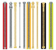Metal and Plastic Zipper Set Isolated on White Background. Stock Images