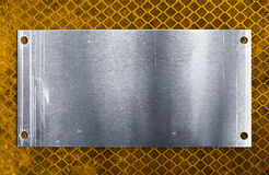 Metal plate. Scratched metal plate on dirty reflective background Stock Photography