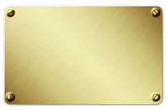 Metal plate. Image of metal plate screwed on the wall Royalty Free Stock Images