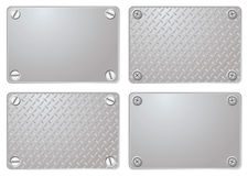 Metal plate. Four variations of a metal plate with different screws Royalty Free Stock Image