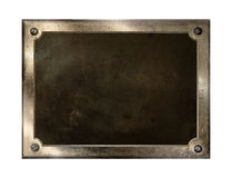 Metal plate. Brass metal plate background texture Royalty Free Stock Images