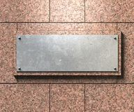 Metal plate background. Nice shiny metal plane on a concrete background 3d illustration Stock Photo
