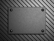 Metal Plate Banner On Dark Shiny Background. Industrial Design E Royalty Free Stock Image
