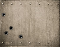 Metal plate with bullet holes 3d illustration Royalty Free Stock Image