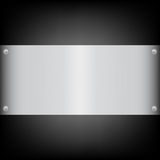 Metal plate on the carbon background. Shiny brushed metal plate banners on white background Stainless steel background,  illustration for you Stock Photography