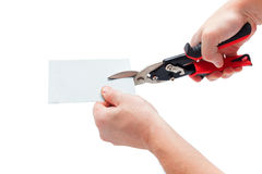 Metal plate cutting with scissors Stock Image