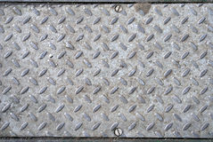 Metal plate in ground. Showing edges and screws Royalty Free Stock Photos