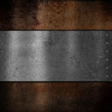 Metal plate on grunge background Royalty Free Stock Image