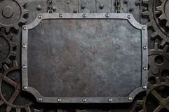 Free Metal Plate Hanging On Chains Over Medieval Gears Royalty Free Stock Photography - 43828397