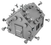 Metal Plate House. Metal plate small house symbol, 3d illustration, horizontal, isolated, over white Royalty Free Stock Photo