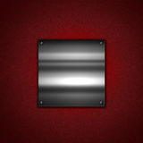 Metal plate on leather texture Stock Photo
