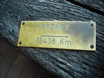 Metal plate with name of a city Stock Image