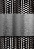 Metal plate over grate. Template Stock Photos