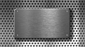 Metal plate over grid or grille background Stock Image