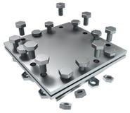 Metal Plate Piece Stock Photo