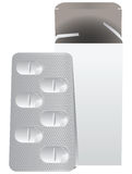 Metal plate with pills Stock Photos