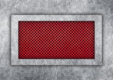 Metal plate on a red lattice steel frame design solutions Stock Image