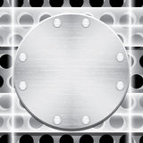 Metal plate with rivets and glass plates Royalty Free Stock Images