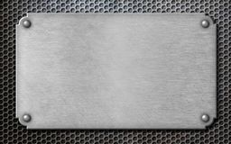Metal plate with rivets template 3d illustration Royalty Free Stock Photography