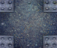 Metal plate with rivets Stock Image