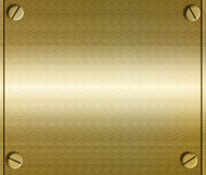 Metal Plate With Screws. Background of a sheet of shiny realistic gold or copper metal with screws on each corner Stock Photo