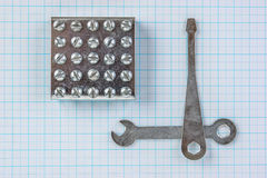 Metal plate with screws Stock Photos