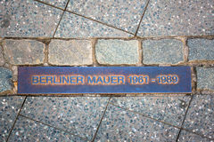 Metal plate showing the course of the berlin wall Royalty Free Stock Photo