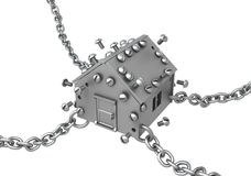Metal House Chained. Metal plate small house symbol chained, 3d illustration, horizontal, isolated, over white Stock Photo