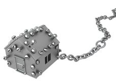 Metal House Chain. Metal plate small house symbol one chained, 3d illustration, horizontal, isolated, over white Royalty Free Stock Image