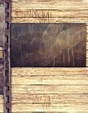 Metal plate on wood background. Grunge metal plate on wood background stock illustration