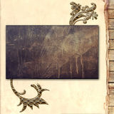 Metal plate on wood background Stock Images