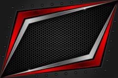 Metal plateado y fondo rojo ilustración del vector