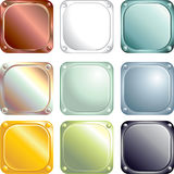 Metal plates. Colored square metal labels-vector vector illustration