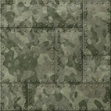 Metal plates with camouflage 3d illustration. Military metal plaques background with camouflage royalty free stock photos