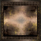 Metal Plates Grunge. Background of old, worn, rusted brass or copper grunge metal plate and studs border Stock Photos