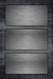 Metal plates on a metal grill. Three metal plates on a metal grill background Stock Photography