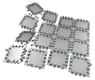 Metal Plates. Metal plate pieces with bolts, dark metal 3d illustration, isolated, horizontal, over white Royalty Free Stock Photos