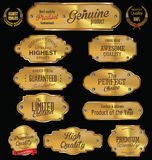 Metal plates premium quality golden collection Royalty Free Stock Images