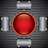 Metal plates and red button Royalty Free Stock Images